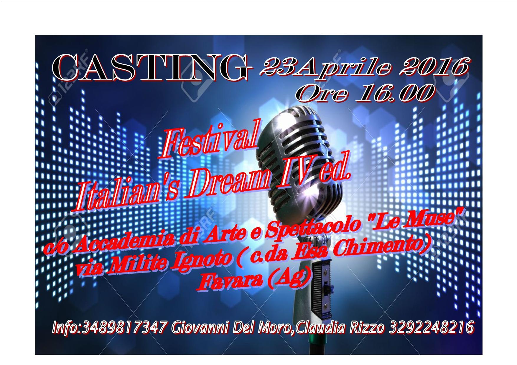 """c/o Accademia di Arte e Spettacolo """"Le Muse"""" via Milite Ignoto ( c.da Esa Chimento) Favara (Ag) Info: Giovanni del Moro 348981734 Claudia Rizzo 3292248216"""