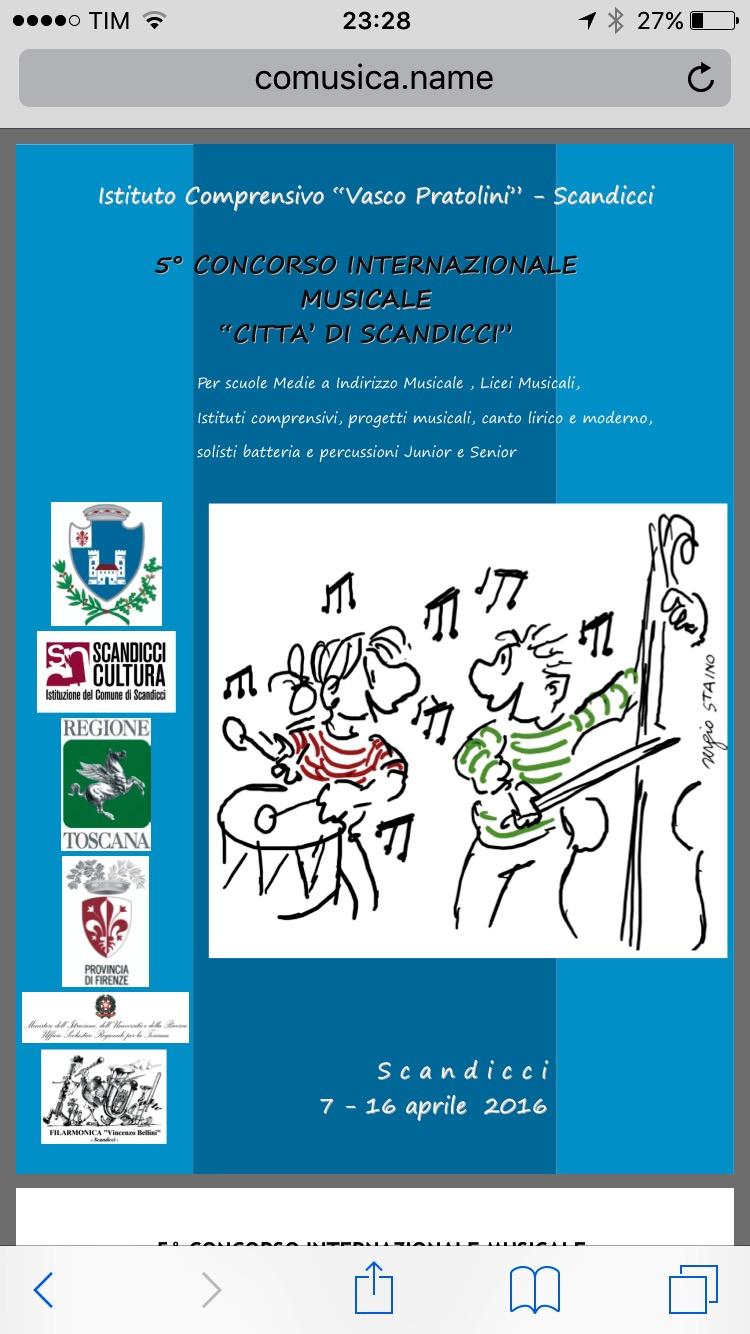 """5° Concorso internazionale musicale """"Città di Scandicci"""" 2016"""