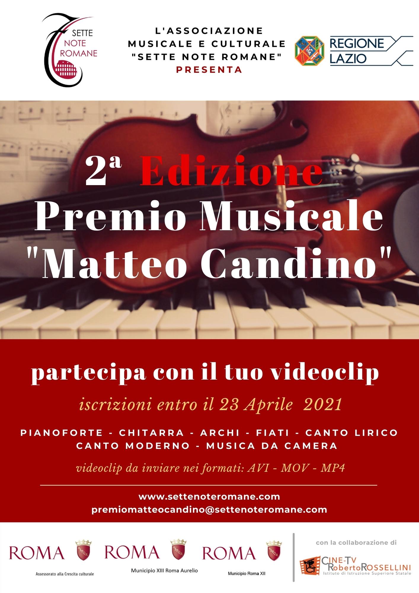 Locandina Premio MATTEO CANDINO 2a Edizione 2021