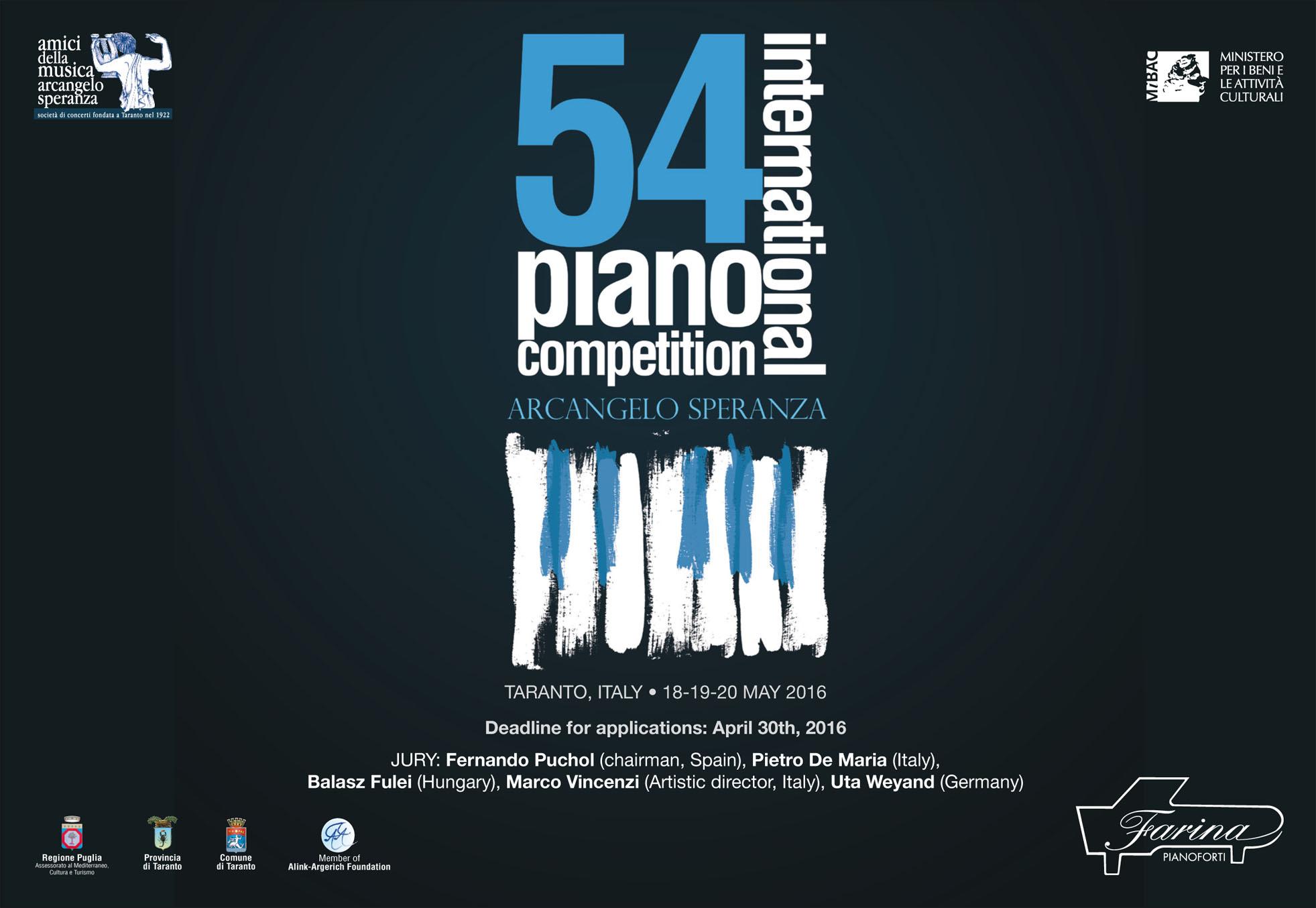 "54° INTERNATIONAL PIANO COMPETITION ""ARCANGELO SPERANZA"""