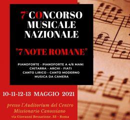 Locandina 7° Concorso Musicale Nazionale 7 Note Romane