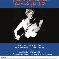locandina, gioconda de vito che suona il violino, scadenza iscrizioni 10/10/2018, dal 17 al 21 ottobre, concorso, internazionale